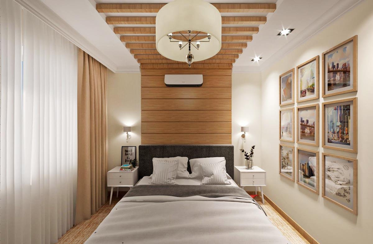 квартира в Гомеле, спальная с деревянными балками на потолке