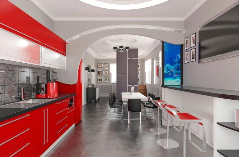 кухня столовая прихожая в современном стиле красная мебель темный пол серые стены аквариум на барной стойке