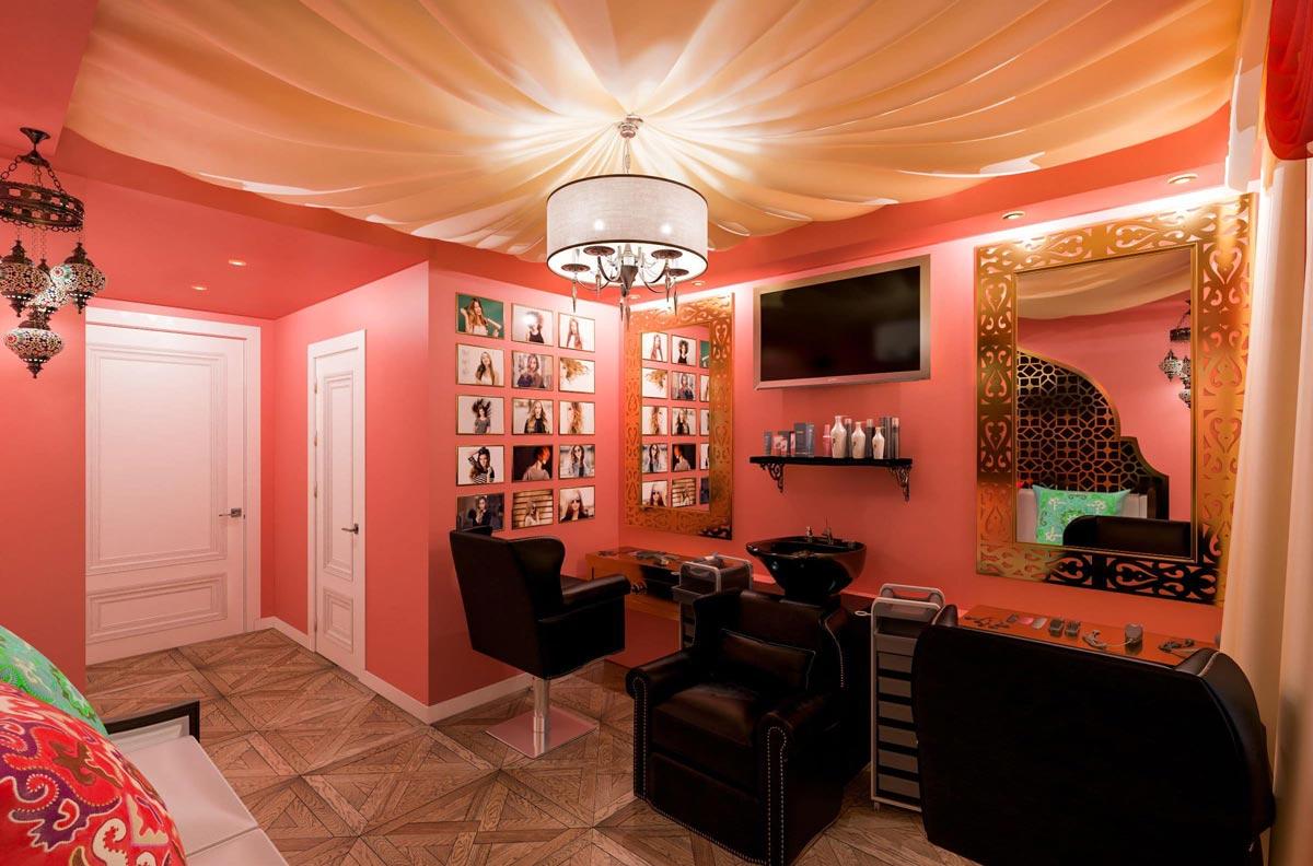 интерьер парикмахерской в турецком стиле фото, зеркала, мойка, кресла, паркет, потолок из ткани 1