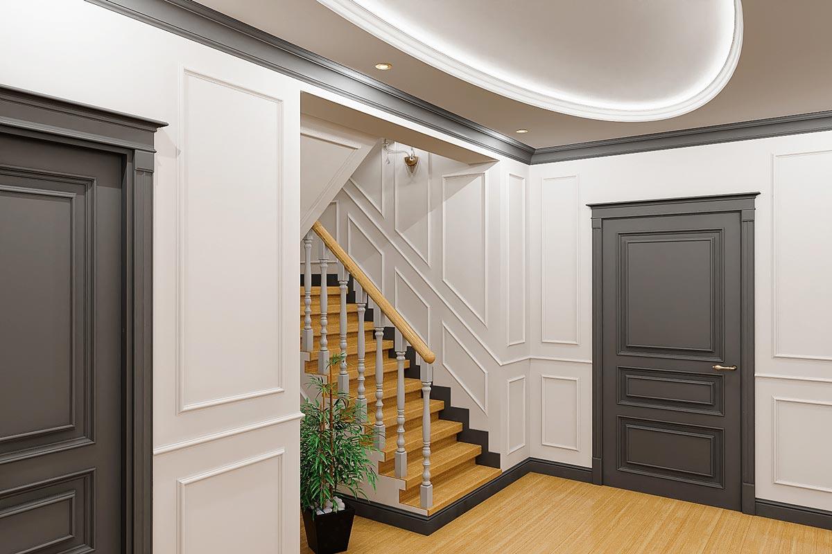 дизайн интерьера загородного дома в Гомеле, стильный интерьер коттеджа, вид на дверцы под лестницей из дерева, балясины из дерева, деревянные поручни, фото 2