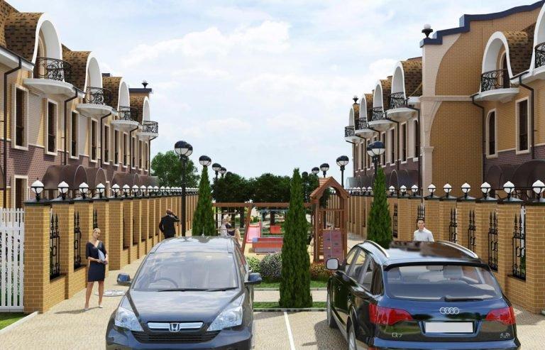 оформление и концепция таунхаусов в нижнем новгороде, экстерьер двух многоквартирных домов среднего класса с необычным архитектурным решением