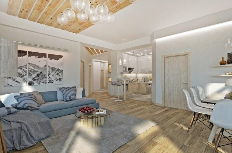 интерьер в эко стиле, квартира студия с открытым пространством