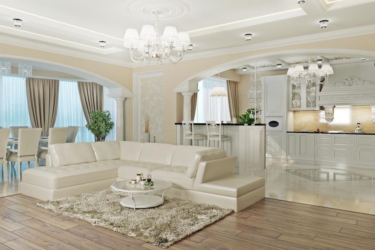 неоклассика интерьер кухни - гостиной, светлый пол, деревянные стойки с подсветкой, кухня с островом