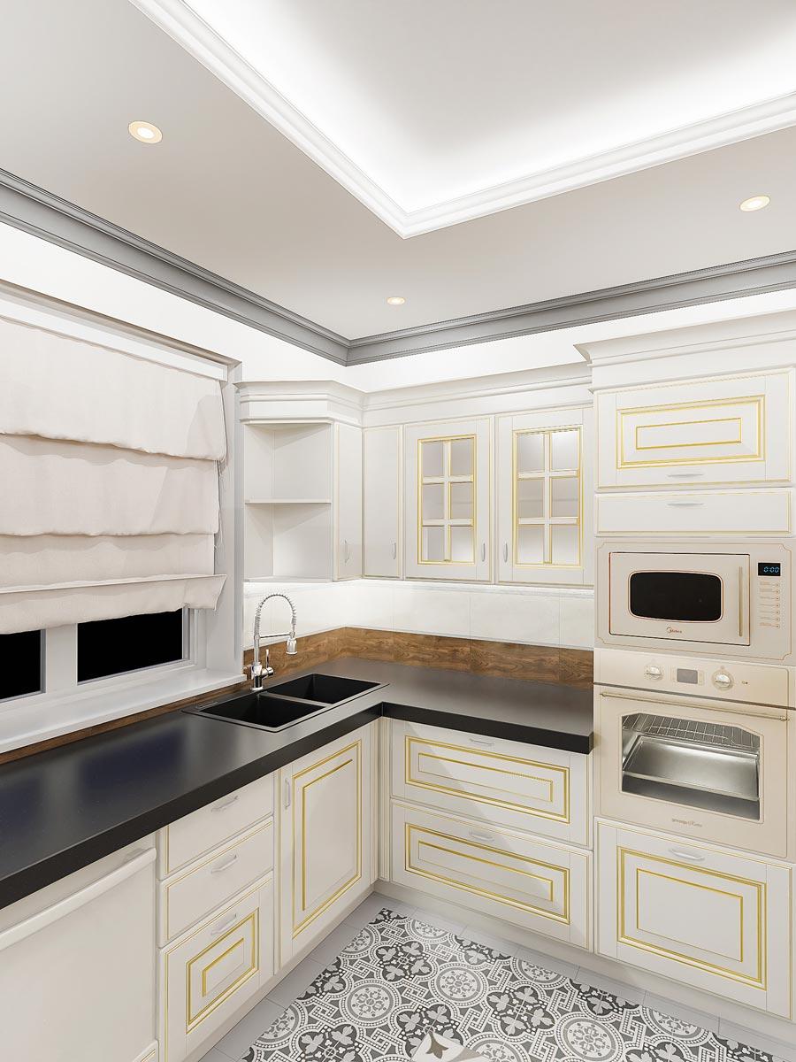 дизайн интерьера загородного дома в Гомеле, вид на плитку фартука кухни, плитка под дерево, духовой шкаф и микроволновая цвет под классику, на окне римские шторы, фото 16