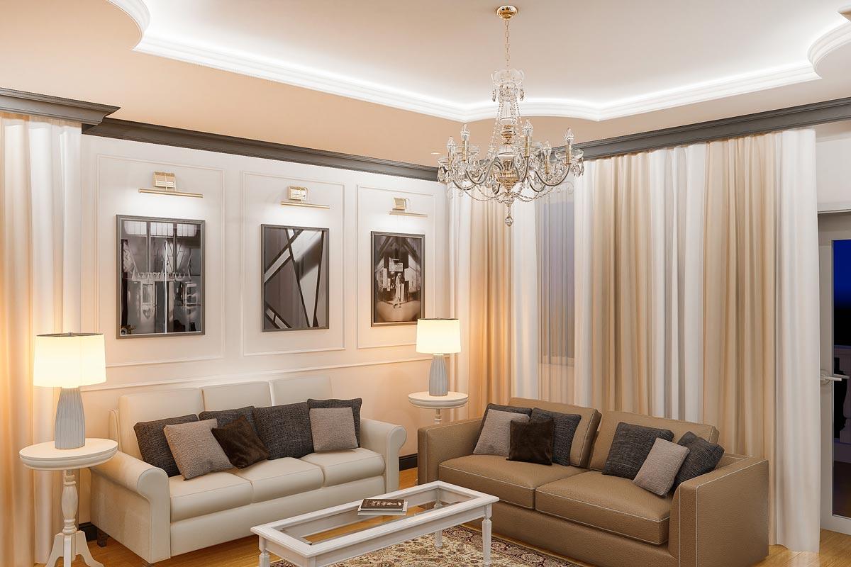 дизайн интерьера загородного дома в Гомеле, два разных дивана, светильники на журнальных столиках сбоку от дивана, картины с подсветкой над диваном, прямые шторы, фото 18