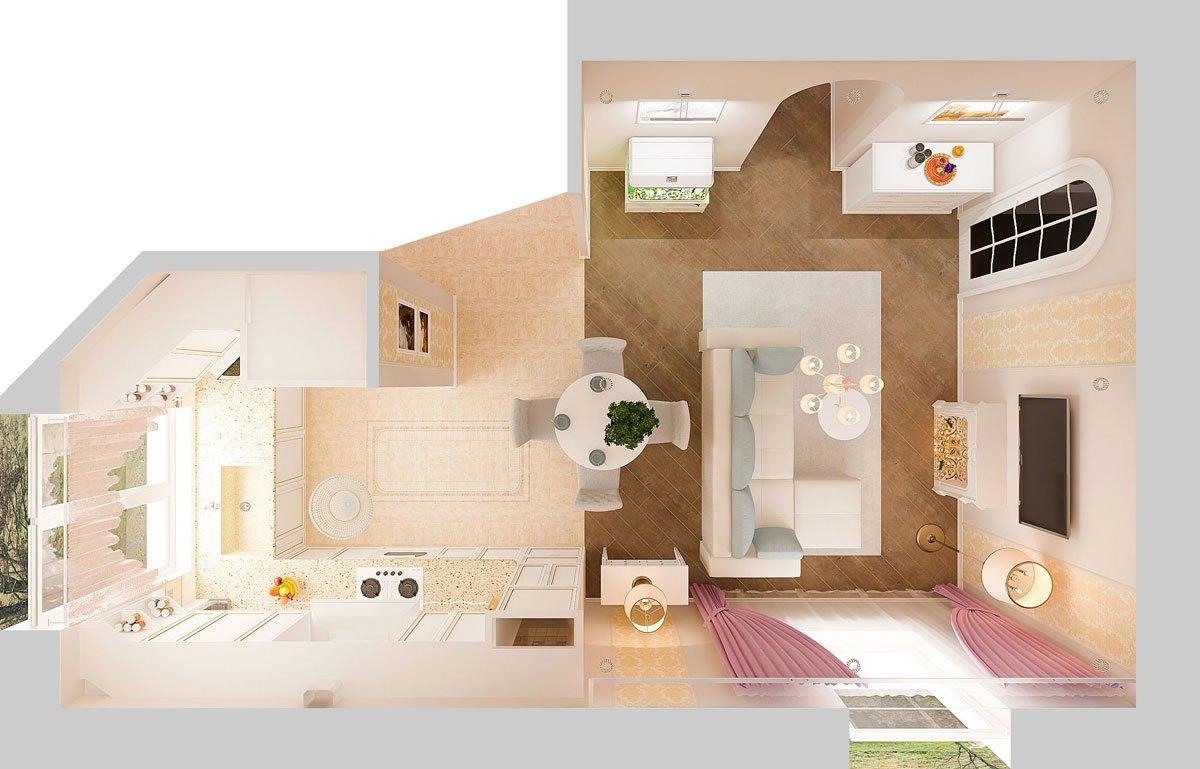 современная классика, интерьер кухни гостиной, бежевый диван, фиолетово красные шторы, портал камина гипсовый с свечами, светильник на консоли, торшер, люстра с цветами, вид сверху, 3д