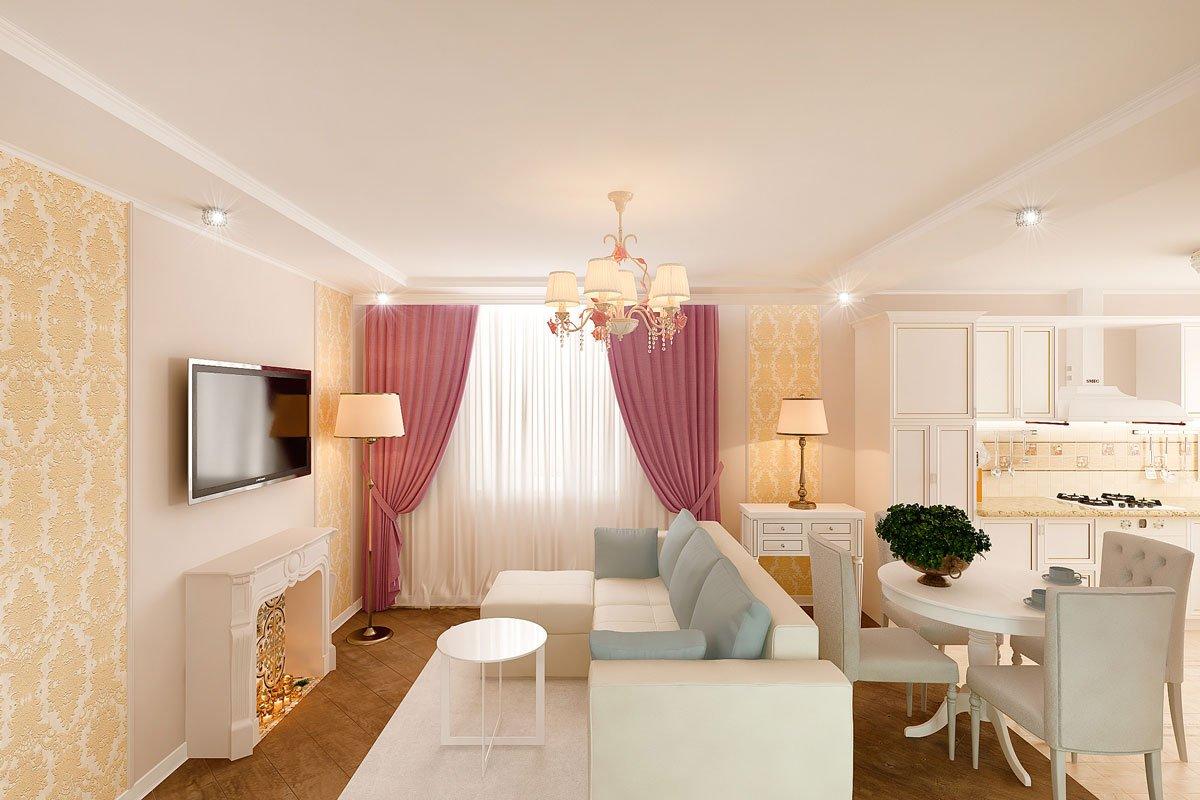 интерьер кухни гостиной, бежевый диван, фиолетово красные шторы, портал камина гипсовый с свечами, светильник на консоли, торшер, люстра с цветами