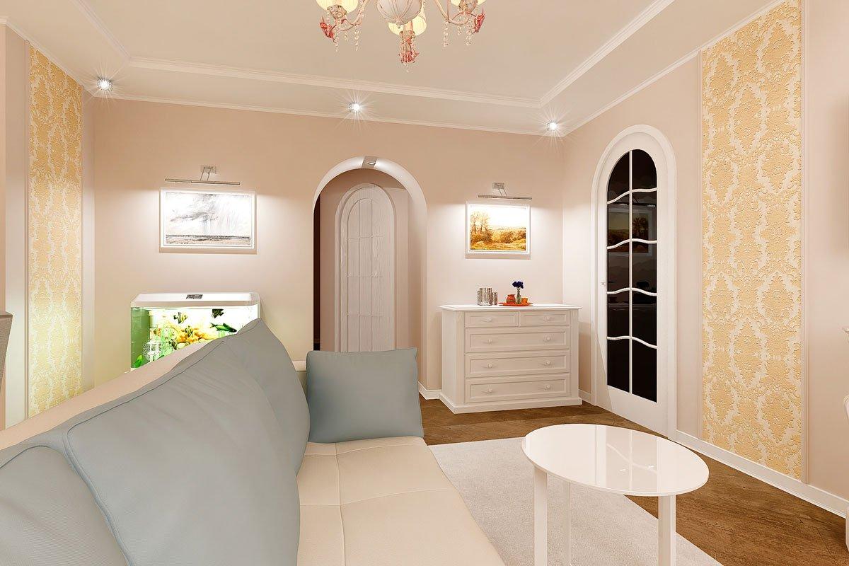 современная классика, интерьер кухни гостиной, бежевый диван, фиолетово красные шторы, портал камина гипсовый с свечами, светильник на консоли, торшер, люстра с цветами, светлые фасады кухни, фото №11