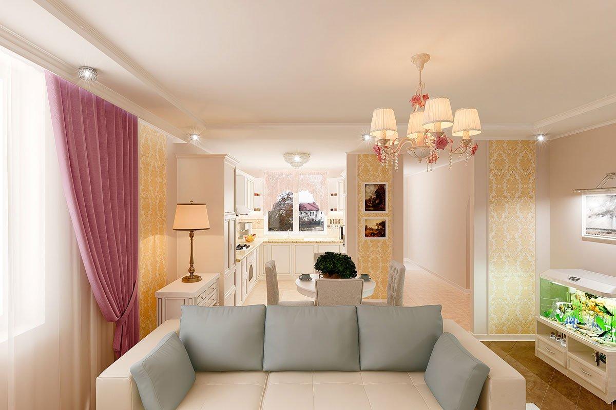 современная классика, интерьер кухни гостиной, бежевый диван, фиолетово красные шторы, вставки из штор классические на стенах, светильник на консоли, торшер, люстра с цветами, светлые фасады кухни, фото №4