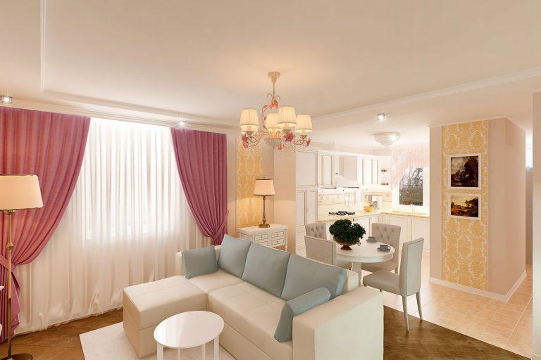 современная классика, интерьер кухни гостиной, бежевый диван, фиолетово красные шторы, портал камина гипсовый с свечами, светильник на консоли, торшер, люстра с цветами, светлые фасады кухни, фото №3