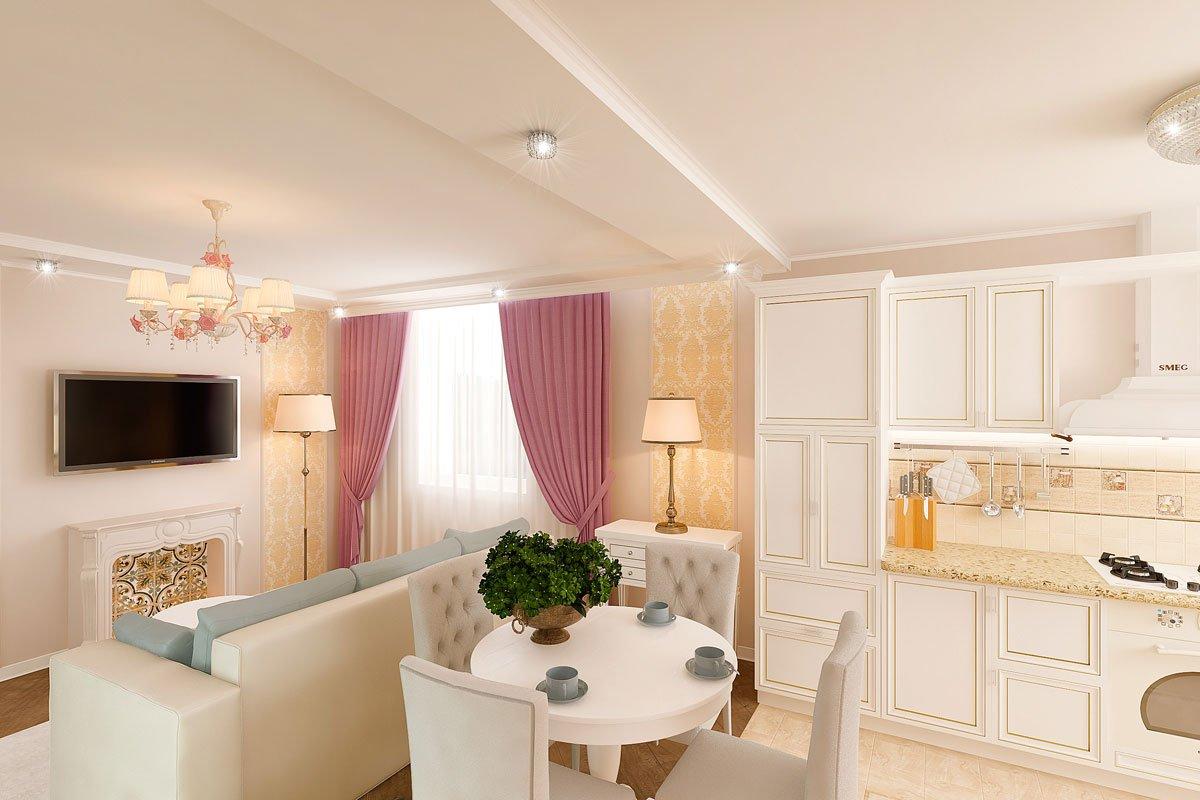 современная классика, интерьер кухни гостиной, бежевый диван, фиолетово красные шторы, портал камина гипсовый с свечами, светильник на консоли, торшер, люстра с цветами, фото №2