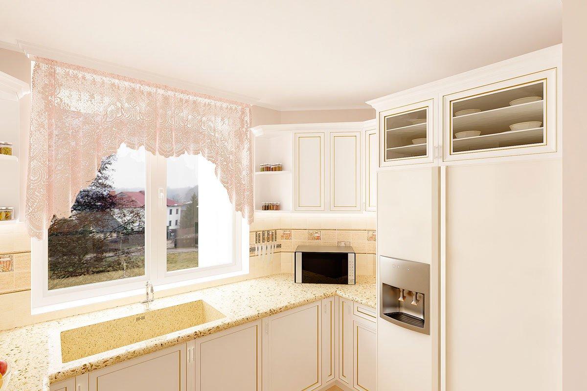 современная классика, интерьер кухни гостиной, бежевый диван, фиолетово красные шторы, портал камина гипсовый с свечами, светильник на консоли, торшер, люстра с цветами, светлые фасады кухни, фото №10