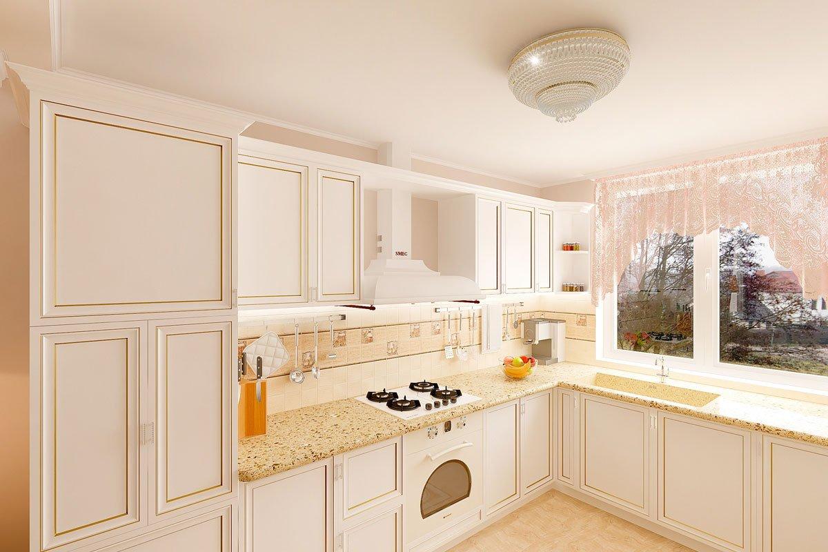 дизайн интерьера, современная классика, интерьер кухни гостиной, бежевый диван, фиолетово красные шторы, портал камина гипсовый с свечами, светильник на консоли, торшер, люстра с цветами, светлые фасады кухни, фото №3