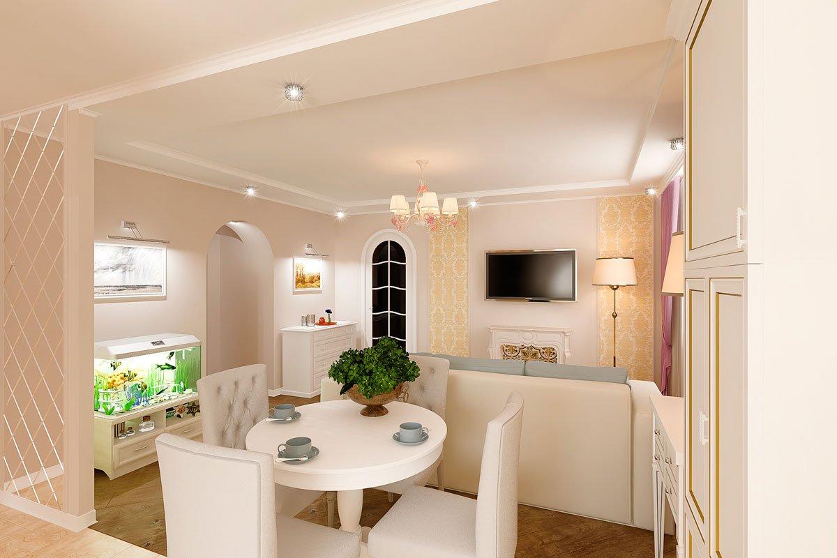 современная классика, интерьер кухни гостиной, бежевый диван, фиолетово красные шторы, портал камина гипсовый с свечами, светильник на консоли, торшер, люстра с цветами, светлые фасады кухни, фото №8