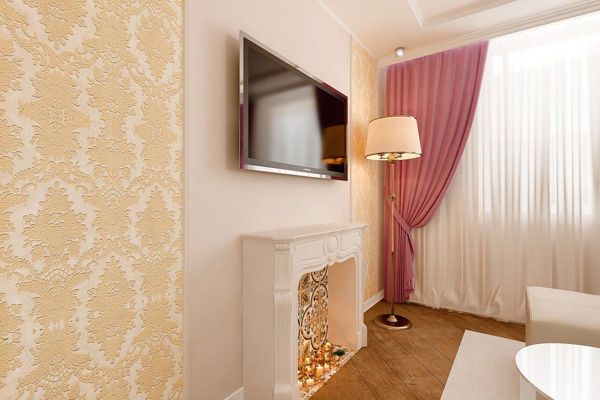 дизайн интерьера кухни гостиной, бежевый диван, фиолетово красные шторы, портал камина гипсовый с свечами, телевизор над порталом, торшер с теплым освещением, фото №7