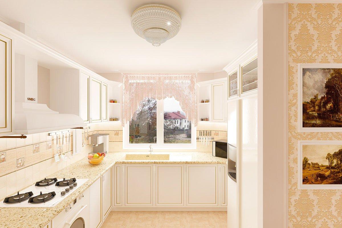 современная классика, интерьер кухни гостиной, бежевый диван, фиолетово красные шторы, портал камина гипсовый с свечами, светильник на консоли, торшер, люстра с цветами, светлые фасады кухни, фото №6