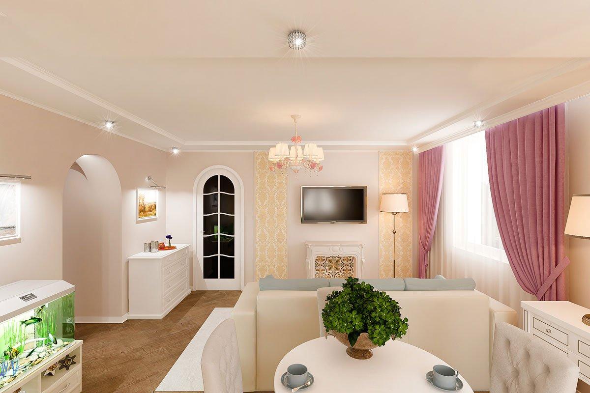 современная классика, интерьер кухни гостиной, бежевый диван, фиолетово красные шторы, портал камина гипсовый с свечами, светильник на консоли, торшер, люстра с цветами, светлые фасады кухни, фото №5