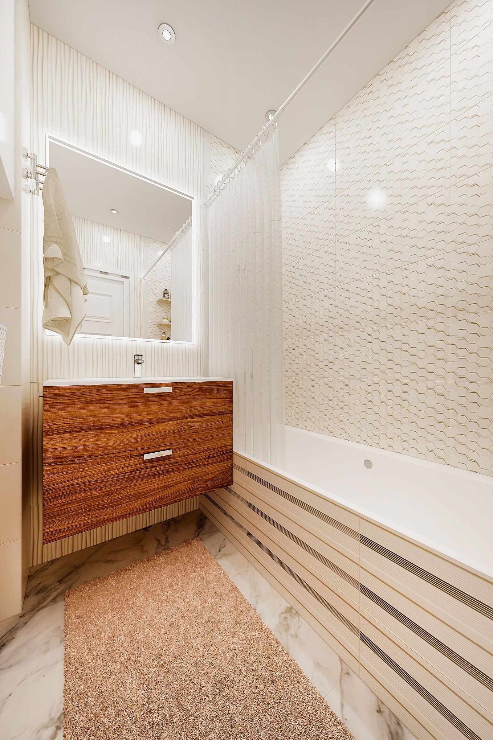 дизайн интерьера ванной в современном стиле, Гомель 2018, фото №3