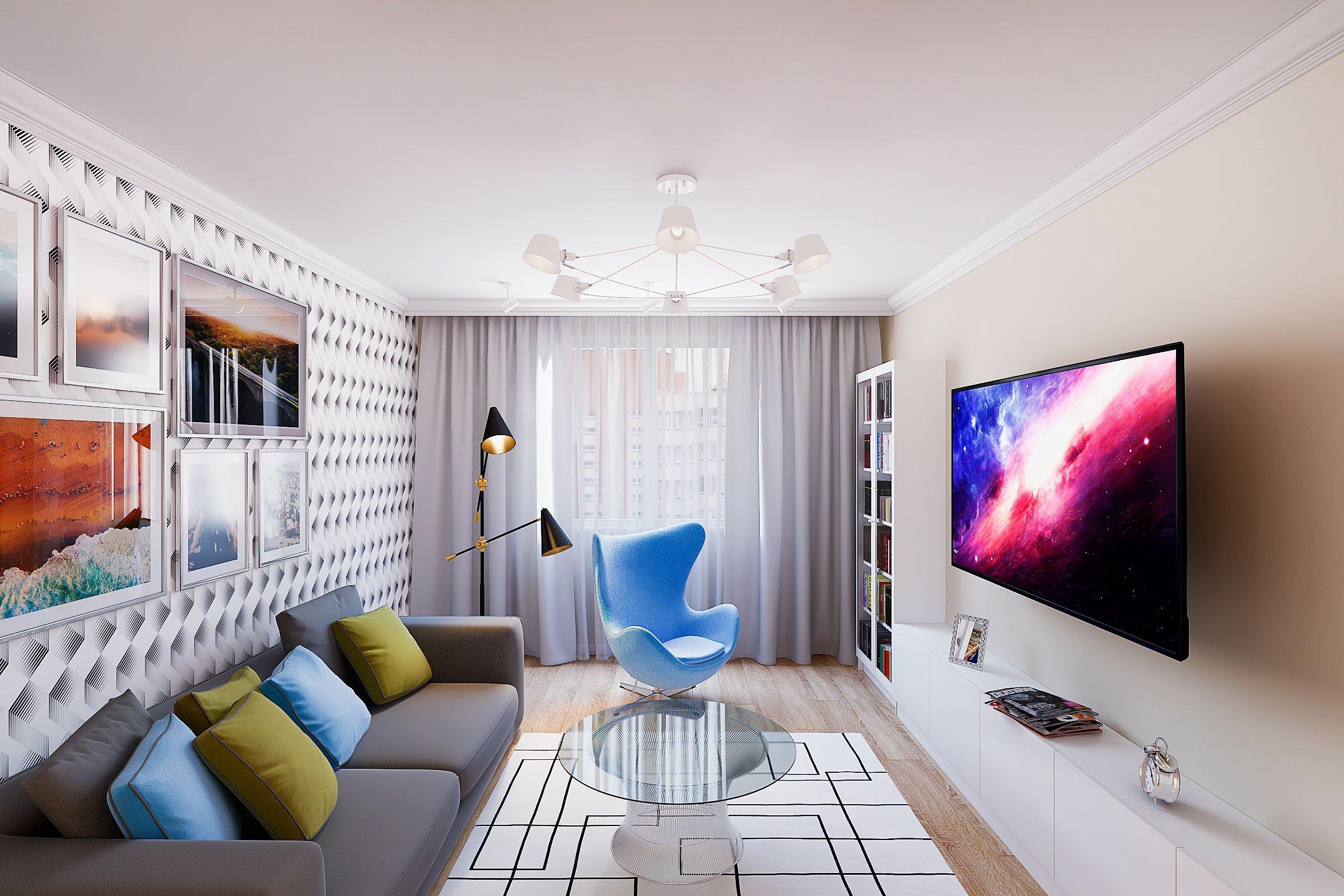 2018, Гостиная, серый диван, шкаф витрина икеа Билли, люстра для низкого потолка, изображение №6, Дизайн интерьера в Гомеле - частный дизайнер Сергей Карпенко