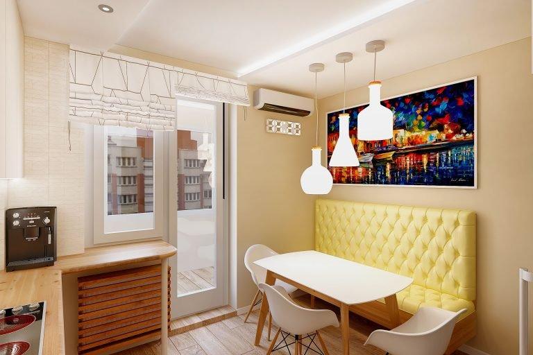 дизайн интерьера кухни в современном стиле, Гомель 2018, фото №2, подвесной диванчик в кухне
