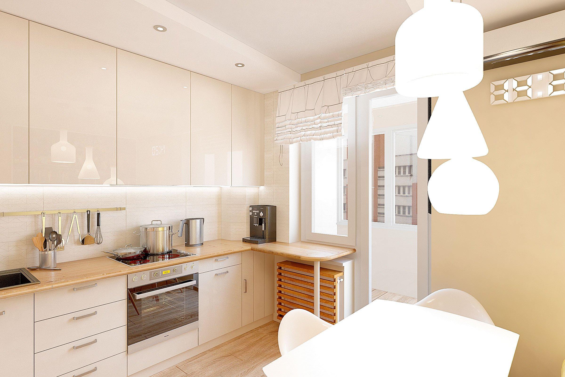 дизайн интерьера кухни в современном стиле, Гомель 2018, фото №4, подвесные светильники в форме бутылок над обеденным столом