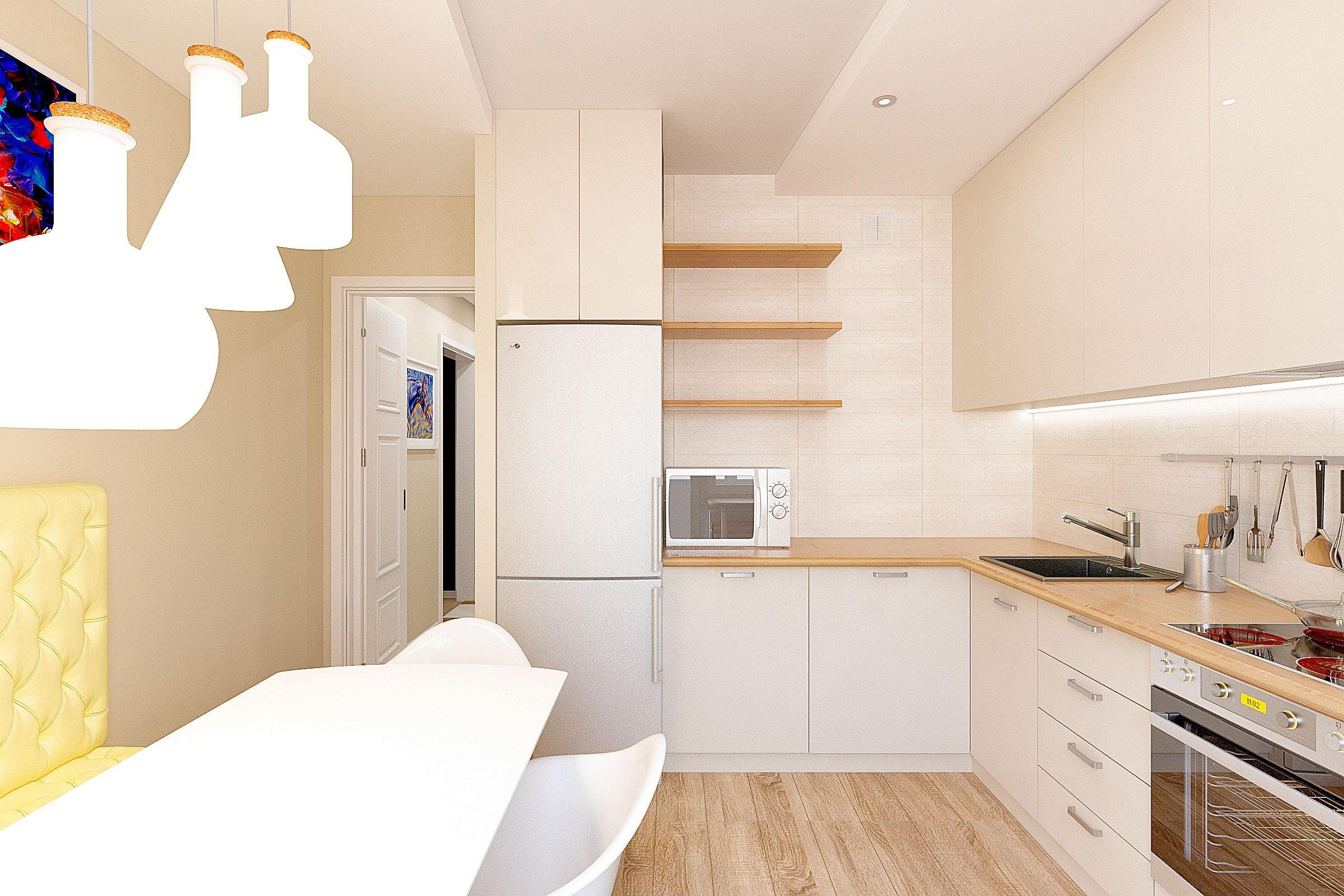 дизайн интерьера кухни в современном стиле, Гомель 2018, фото №3, подвесные светильники в форме бутылок над обеденным столом