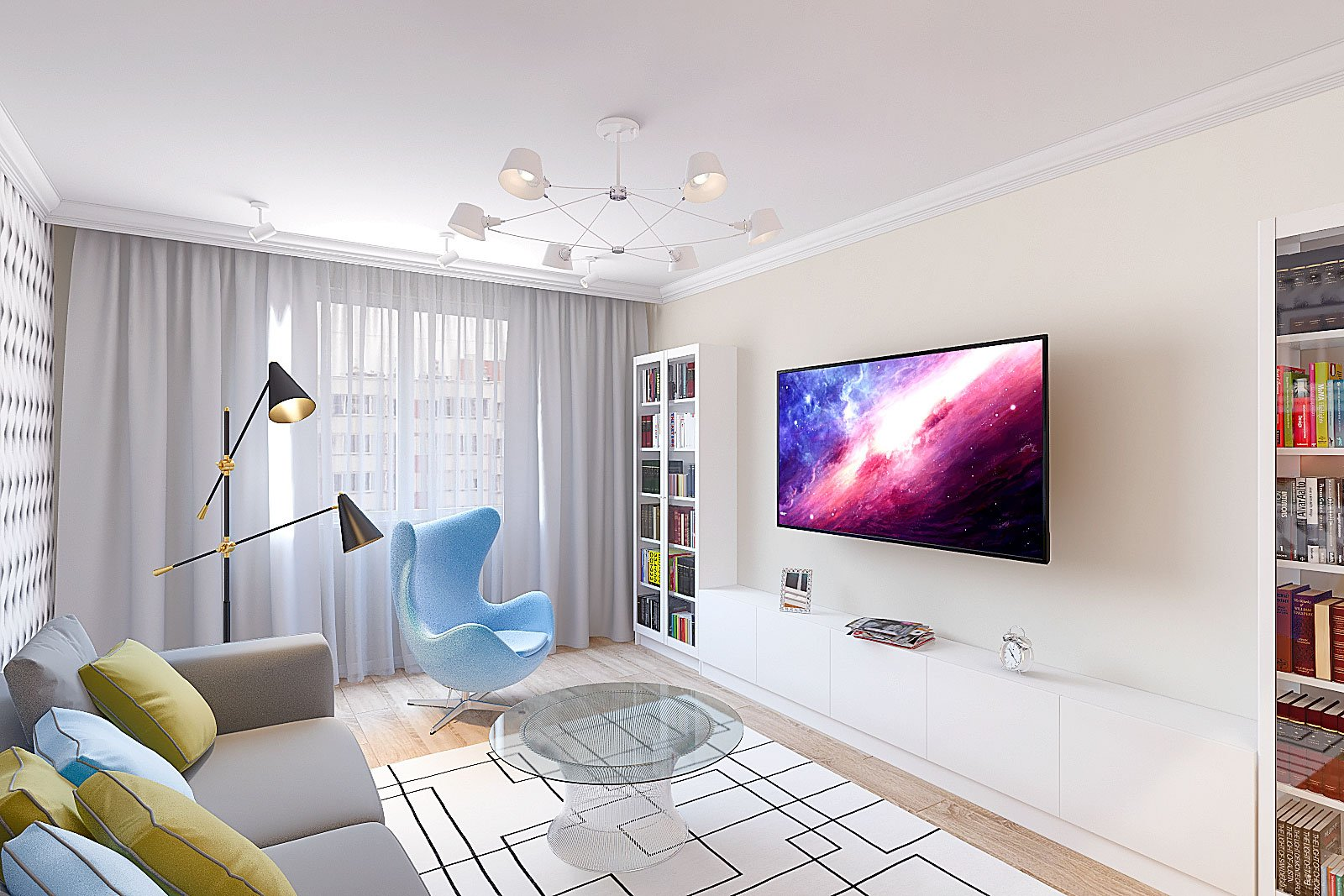 Дизайн интерьера гостиной в трехкомнатной квартире в Гомеле