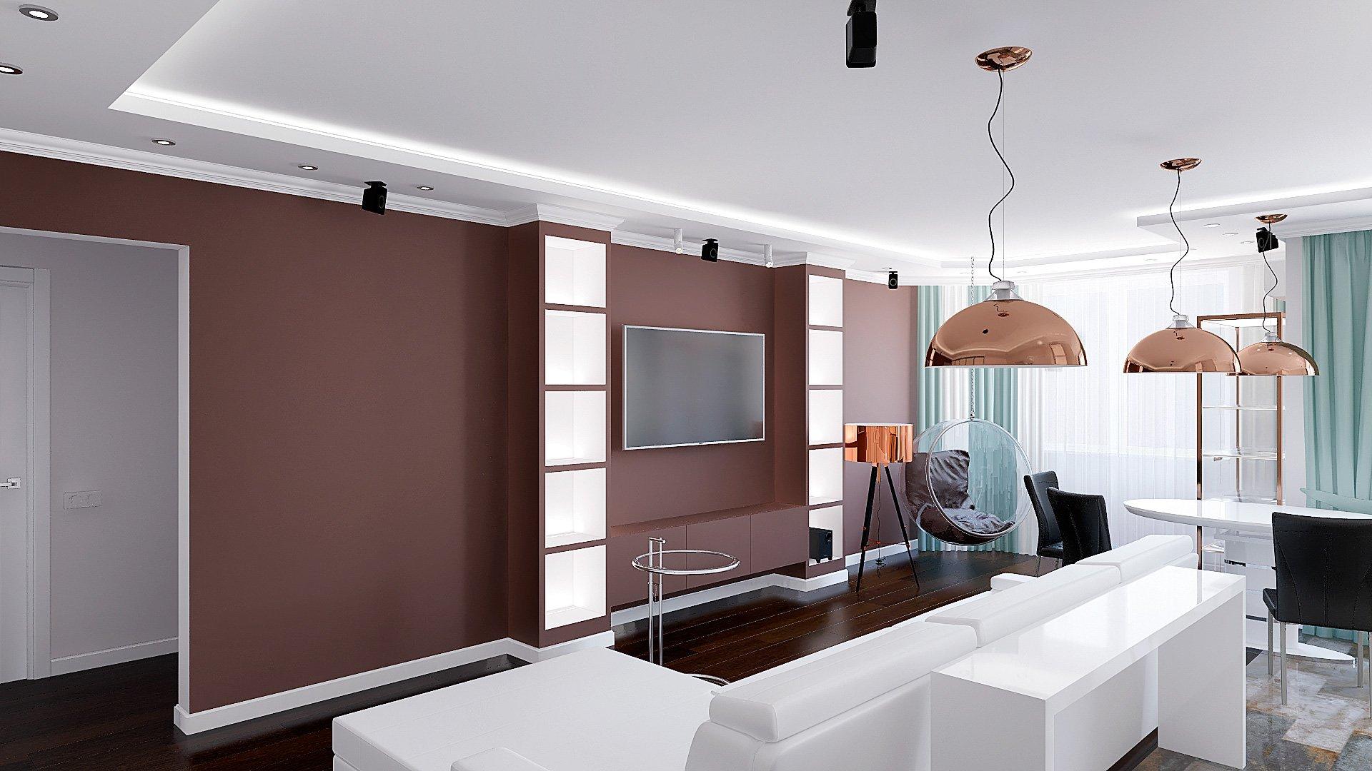 квартиры в Гомеле, Зона кухни-гостиной-прихожая, белый диван, темно-коричневая стена, полки с подсветкой, подвесные светильники, интерьер гостиной в гомеле в современном стиле №6