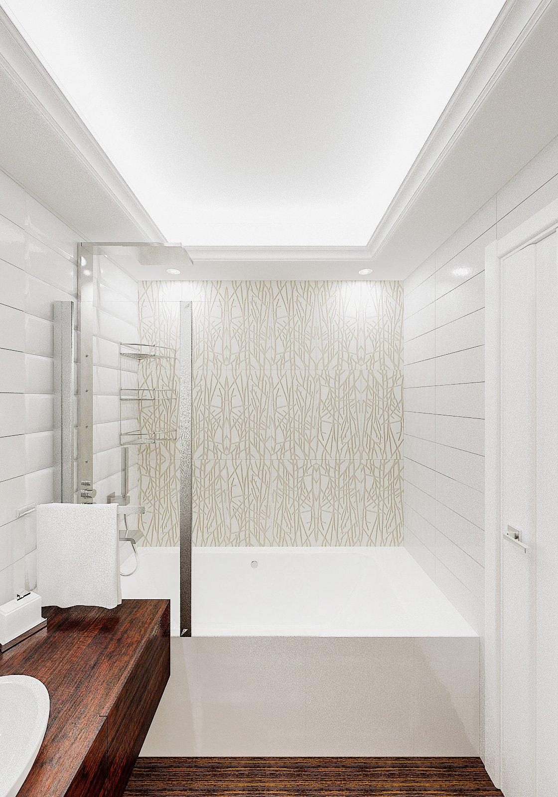 светлая ванная, плитка объемная, потолок с закарнизной подсветкой в ванной, Дизайн интерьера ванной в Гомеле 1