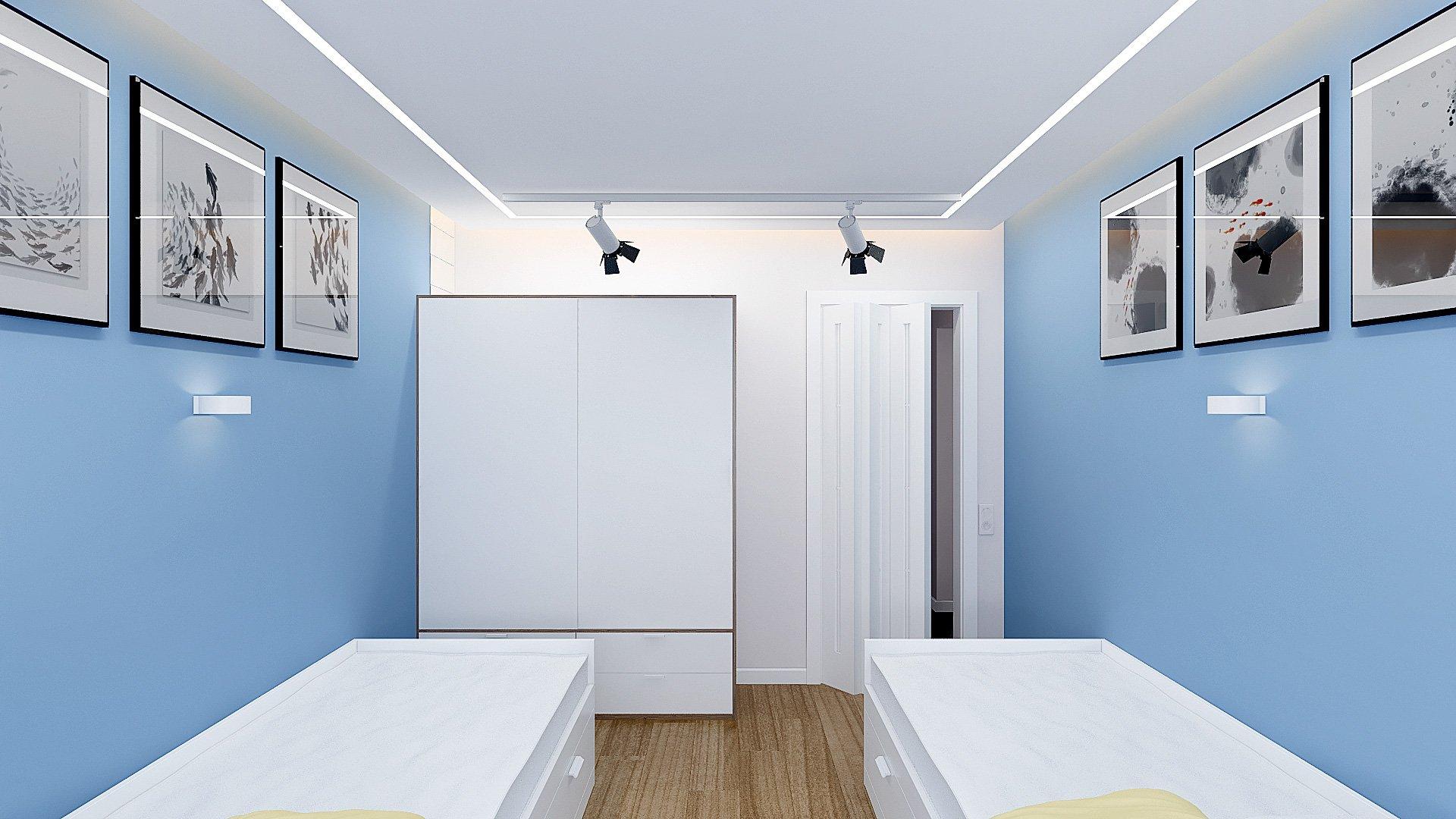 Дизайн интерьера детской комнаты в Гомеле, Изображение № 2, письменный стол у окна, кровати ИКЕА в интерьере детской, детская для двоих подростков, светильники на шинопроводе, голубые стены