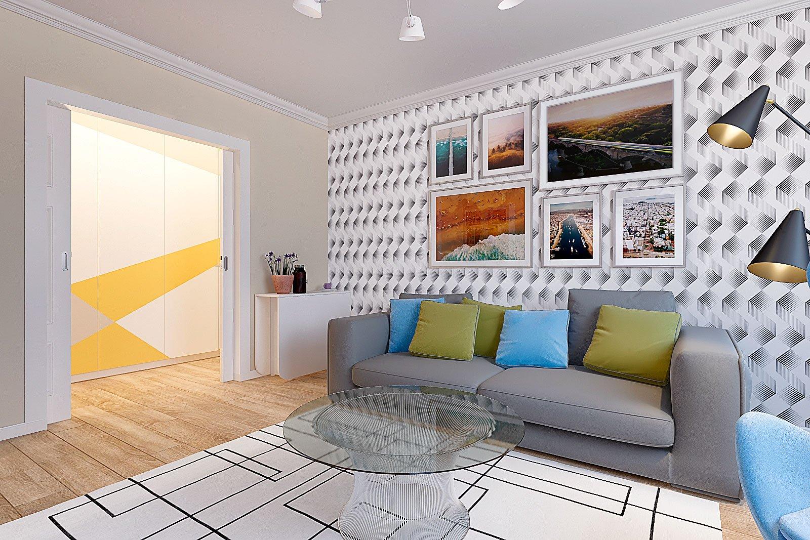 дизайн интерьера гостиной, Гомель 2018, Гостиная, серый диван, шкаф витрина икеа Билли, люстра для низкого потолка, стеклянный столик, цветные подушки, изображение №2, Дизайн интерьера квартиры в Гомеле - Дизайн студия Сергея Карпенко