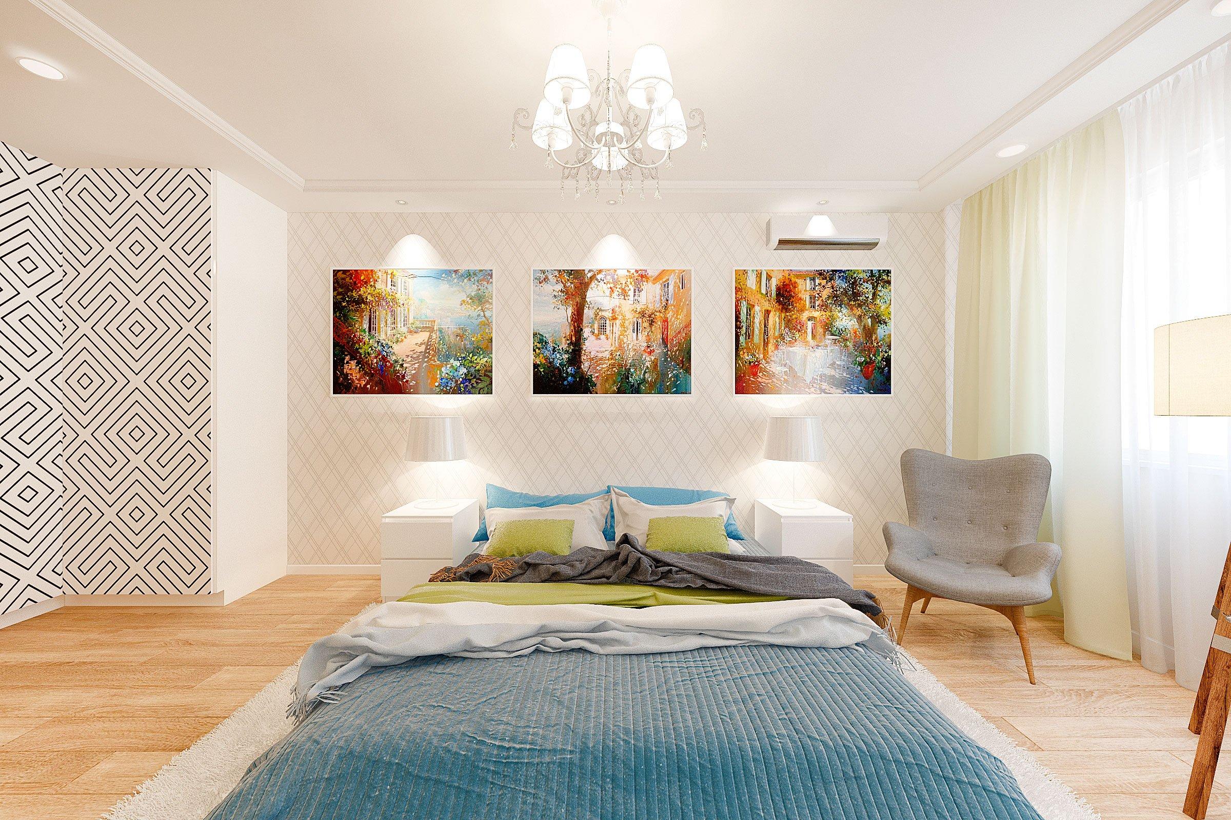 дизайн интерьера спальни в скандинавском стиле, Гомель 2018, фото №3