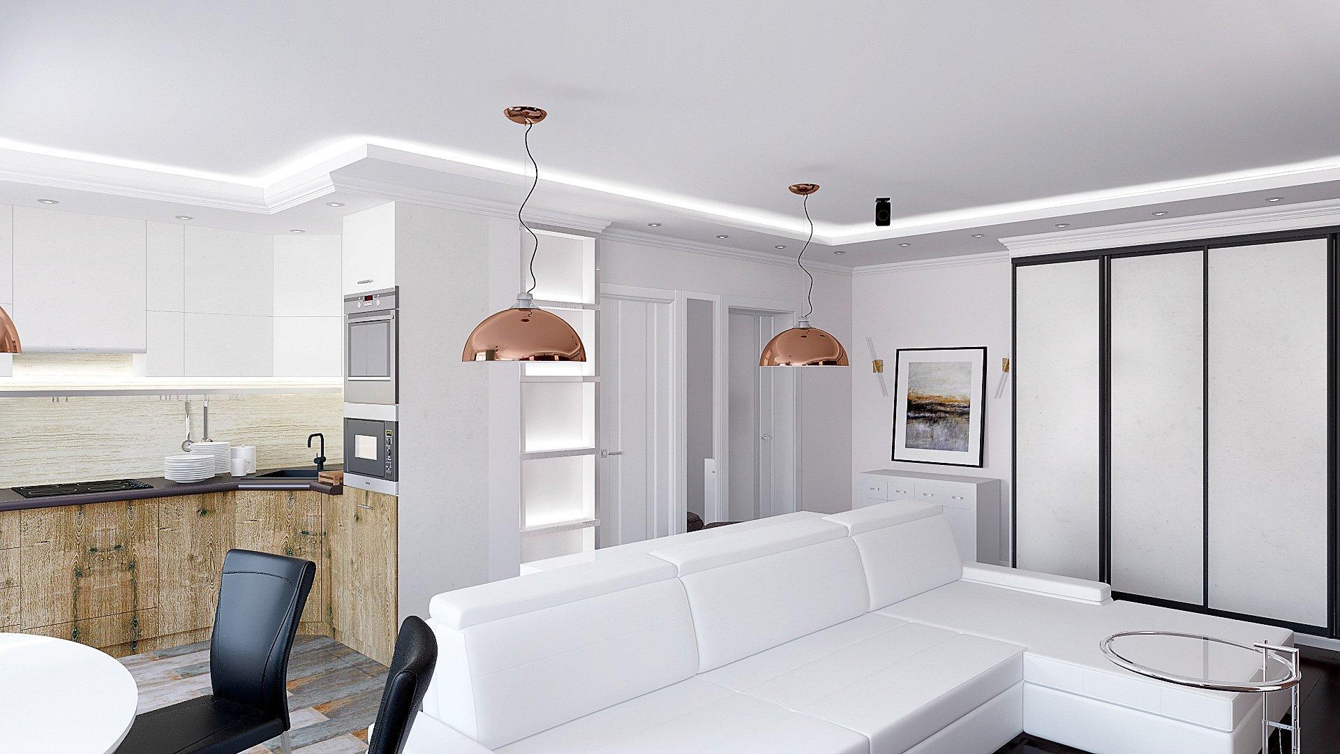 Дизайн интерьера квартиры в Гомеле, Зона кухни-гостиной-прихожая, белый диван, темно-коричневая стена, полки с подсветкой, подвесные светильники, интерьер гостиной в гомеле в современном стиле №5