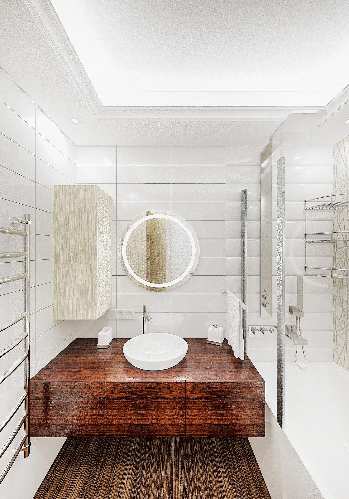 Круглое зеркало с подсветкой в ванной, круглый умывальник на тумбе, светлая ванная, плитка объемная, потолок с закарнизной подсветкой в ванной, Дизайн интерьера ванной в Гомеле 4