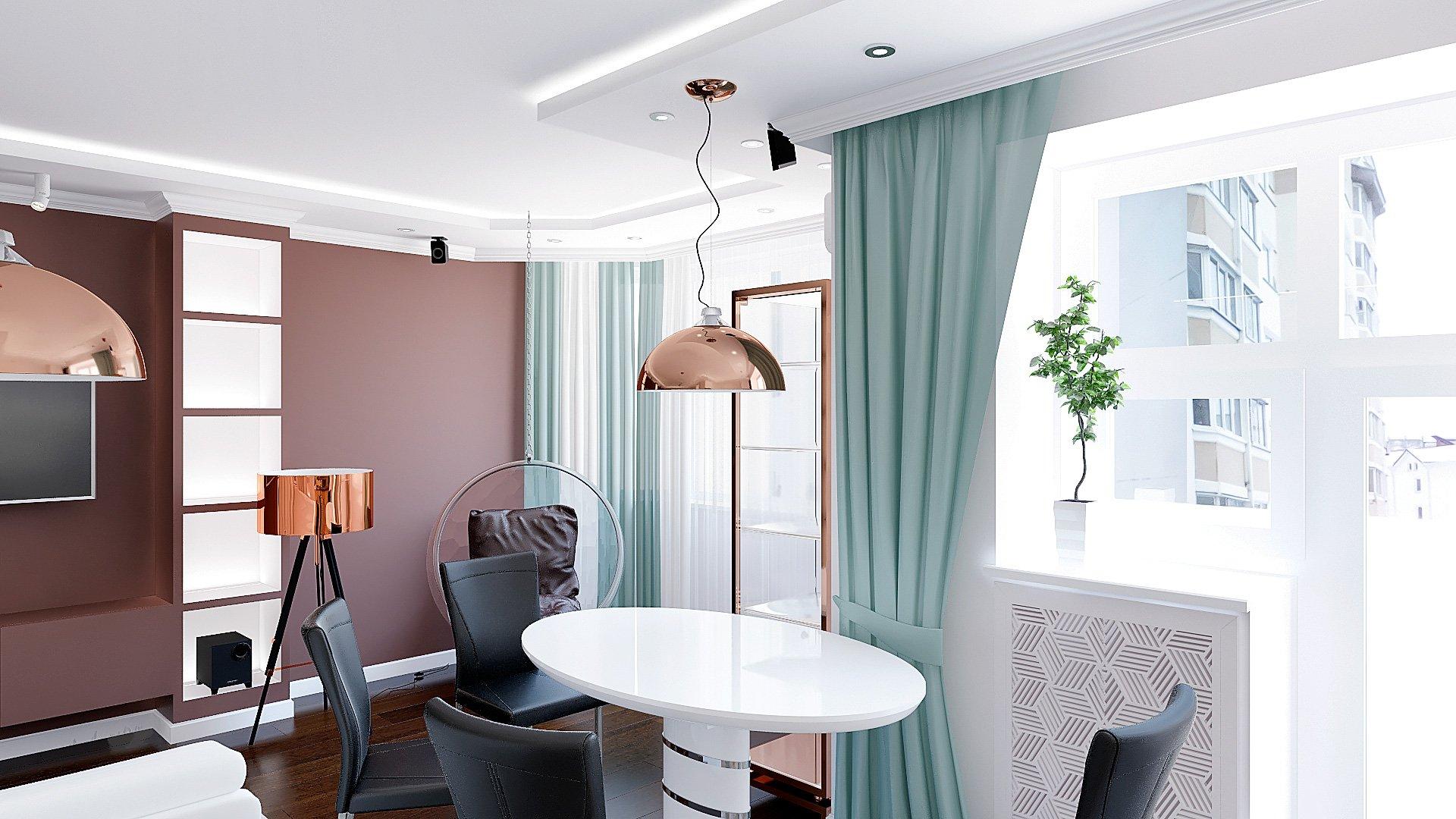 Дизайн интерьера квартиры в Гомеле, Зона кухни-гостиной-прихожая, белый диван, темно-коричневая стена, полки с подсветкой, подвесные светильники, интерьер обеденной зоны в гомеле в современном стиле №4