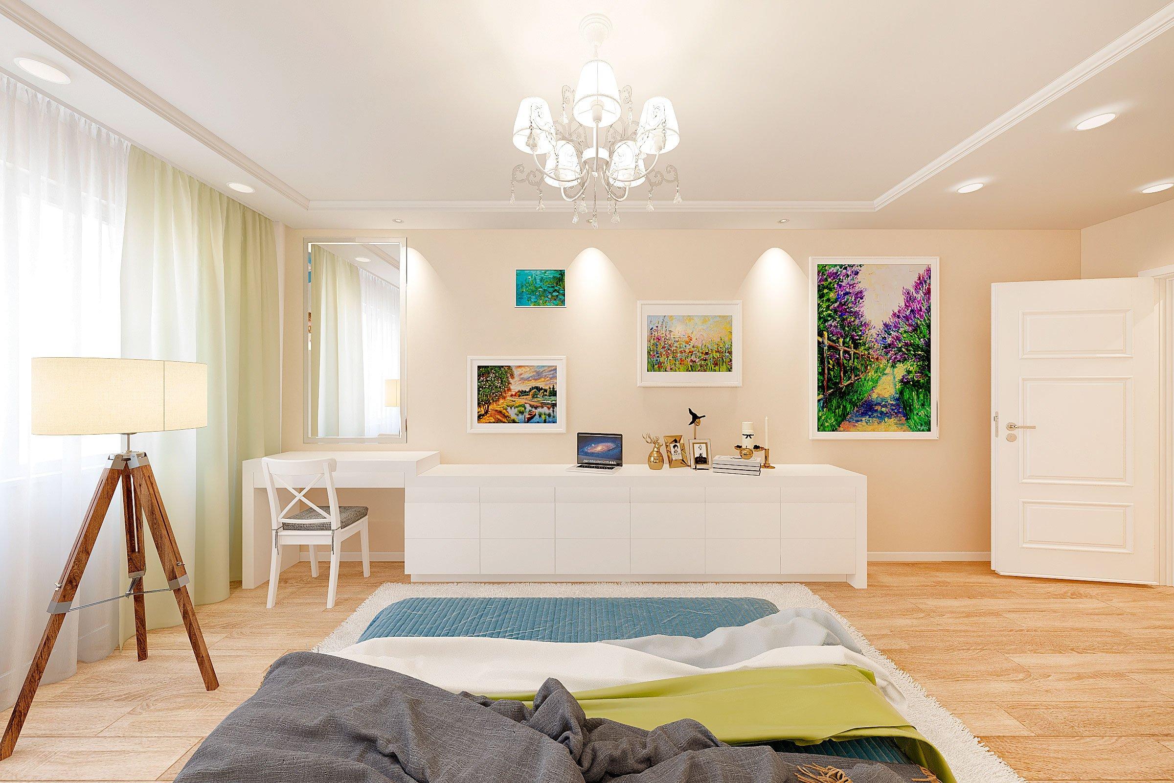 дизайн интерьера спальни в скандинавском стиле, Гомель 2018, фото №2