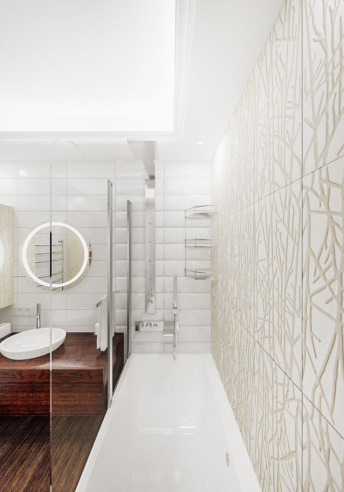 Круглое зеркало с подсветкой в ванной, круглый умывальник на тумбе, светлая ванная, плитка объемная, потолок с закарнизной подсветкой в ванной, Дизайн интерьера ванной в Гомеле 2