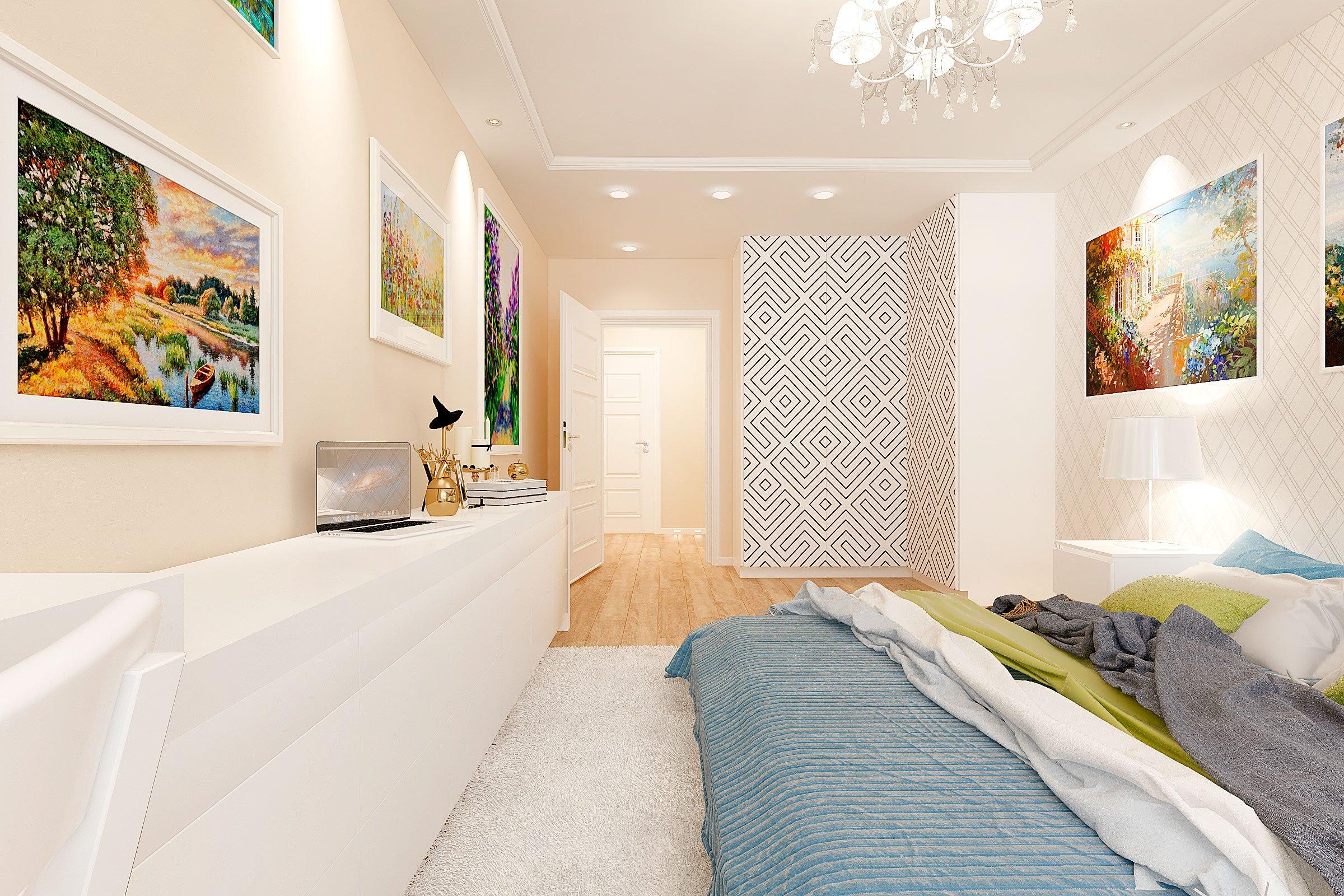 дизайн интерьера спальни в скандинавском стиле, Гомель 2018, фото №1