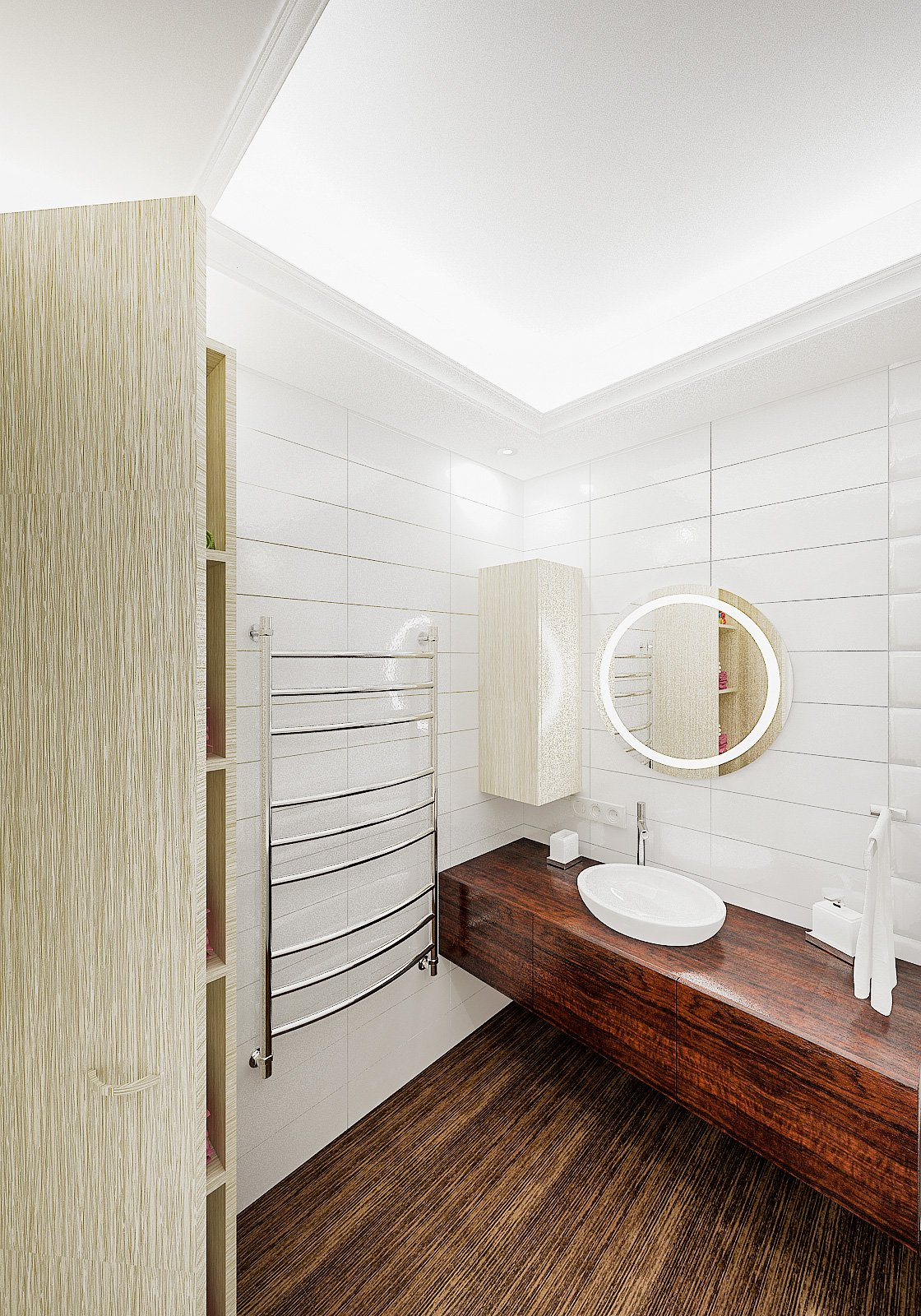 Круглое зеркало с подсветкой в ванной, круглый умывальник на тумбе, светлая ванная, плитка объемная, потолок с закарнизной подсветкой в ванной, Дизайн интерьера ванной в Гомеле 3