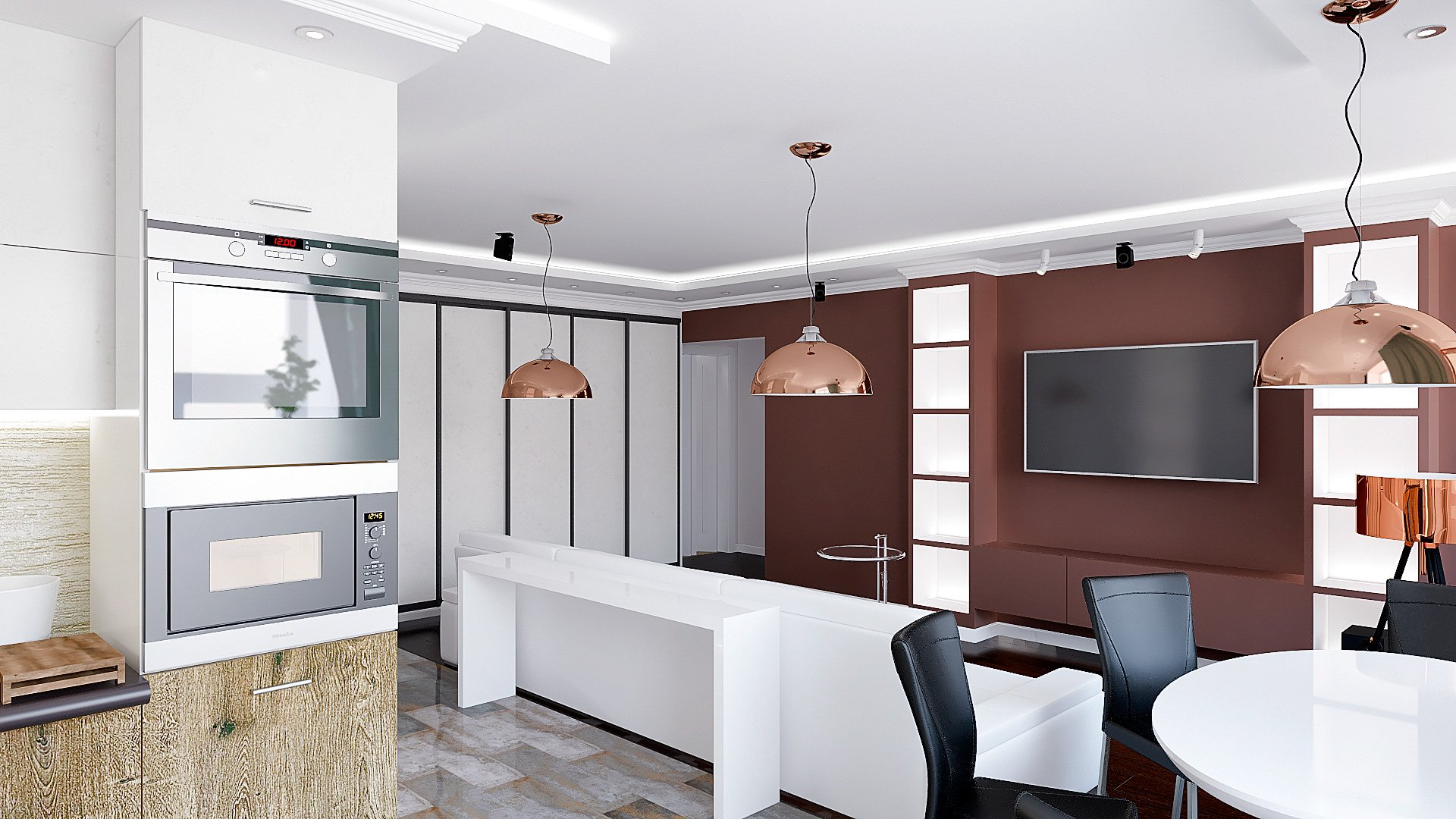 Дизайн интерьера квартиры в Гомеле, Зона кухни-гостиной-прихожая, белый диван, темно-коричневая стена, полки с подсветкой, подвесные светильники, интерьер гостиной в гомеле в современном стиле №2