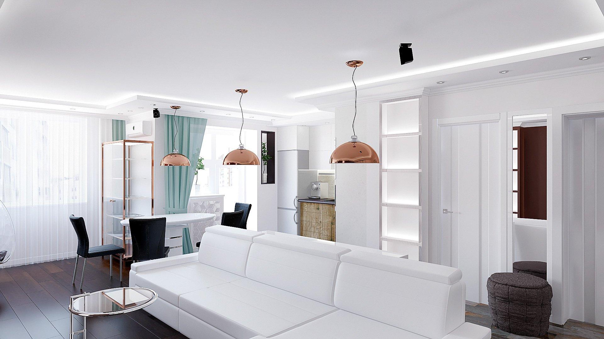 Дизайн интерьера квартиры в Гомеле, Зона кухни-гостиной-прихожая, белый диван, темно-коричневая стена, полки с подсветкой, подвесные светильники, интерьер гостиной в гомеле в современном стиле №1