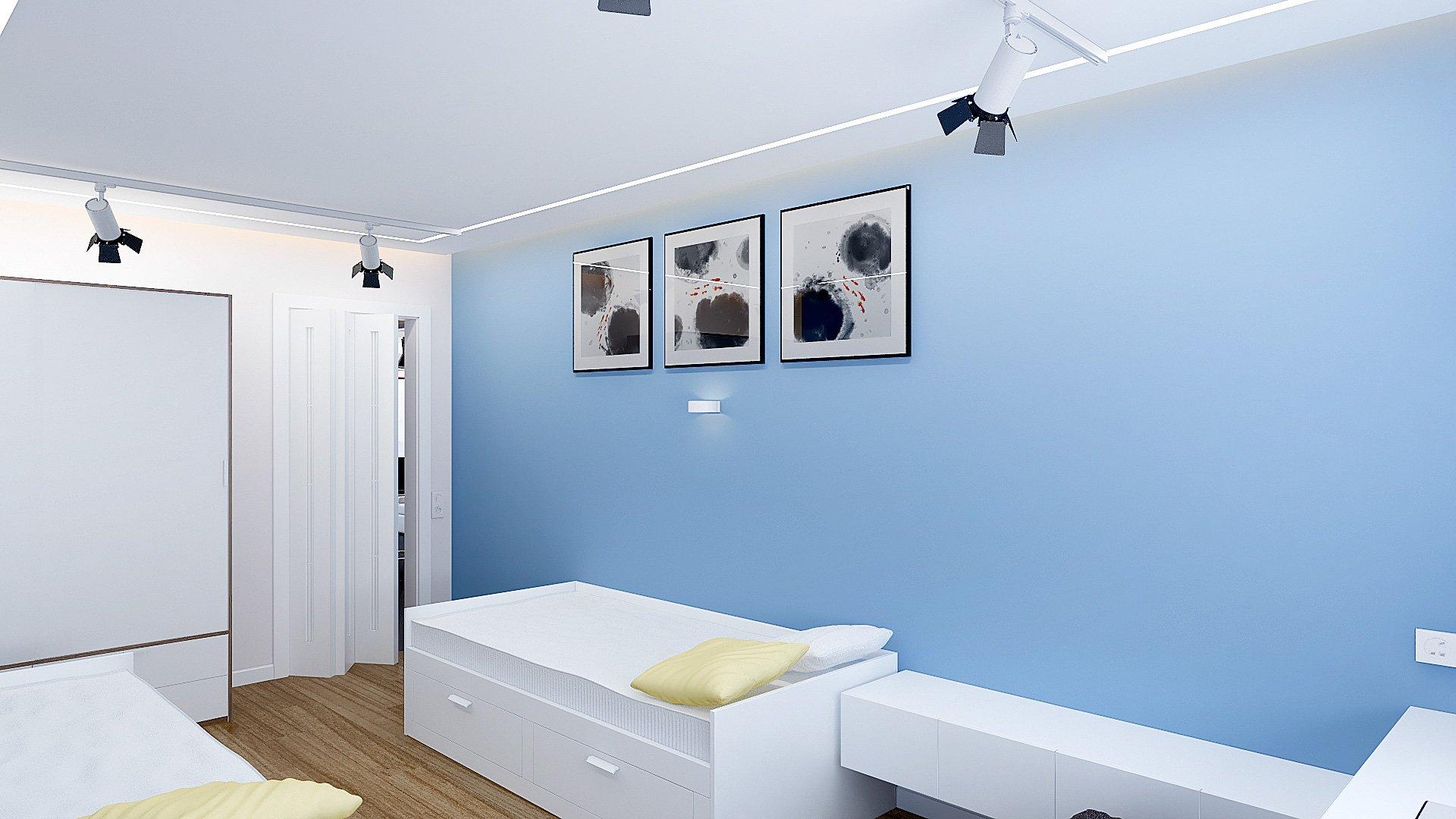 Дизайн интерьера детской комнаты в Гомеле, Изображение № 1, письменный стол у окна, кровати ИКЕА в интерьере детской, детская для двоих подростков, светильники на шинопроводе, голубые стены