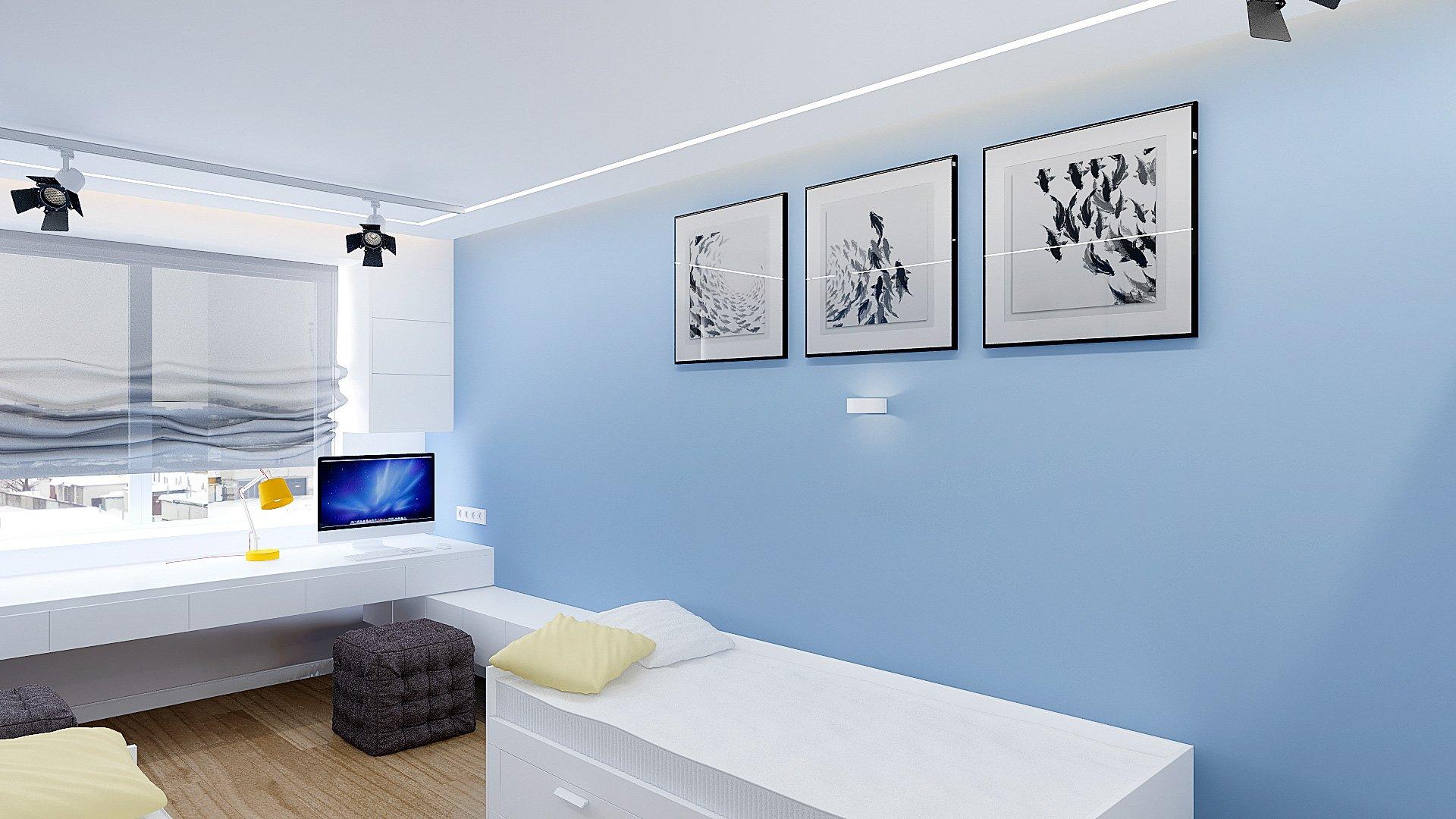 Дизайн интерьера детской комнаты в Гомеле, Изображение № 1, письменный стол у окна, кровати ИКЕА в интерьере детской, детская для двоих подростков