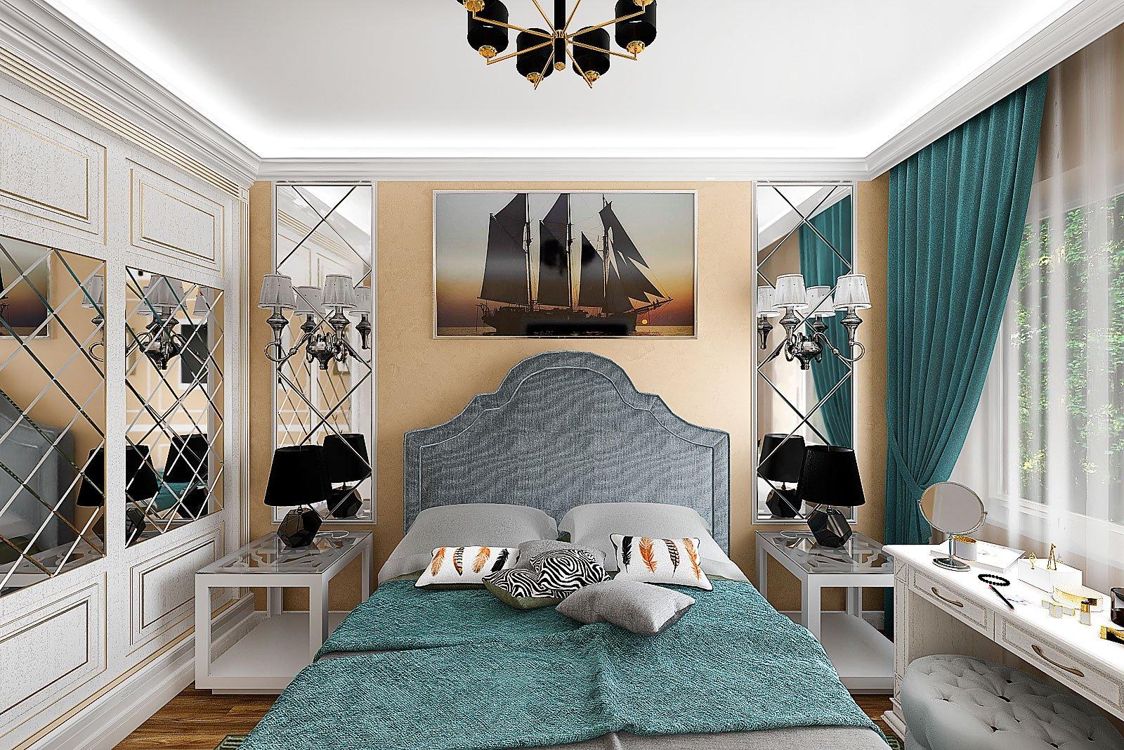 спальня с зеркалами, легкая классика в светлых тонах
