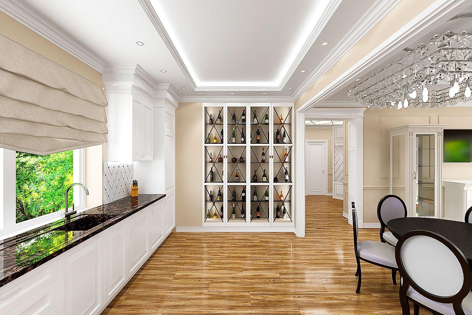 кухня, ракурс на винный шкаф встроенный