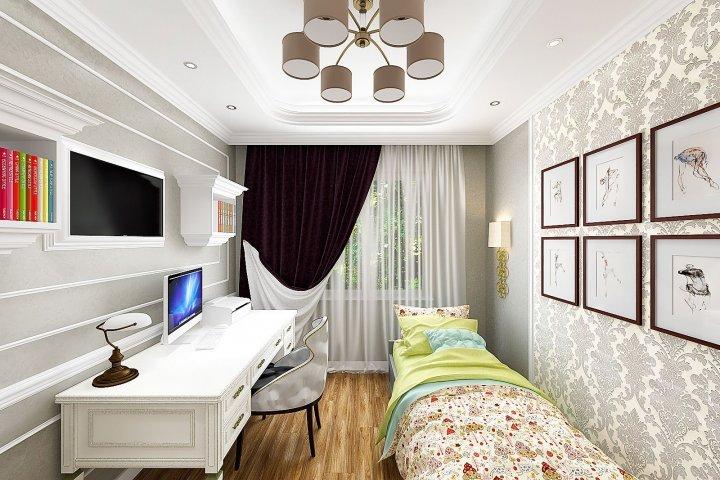 Комната девочки дошкольного возраста, современная классика, neoclassic modern design in Belarus, Gomel