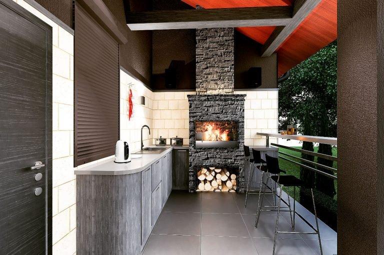 барбекю на террасе, барная столешница, кухня на веранде