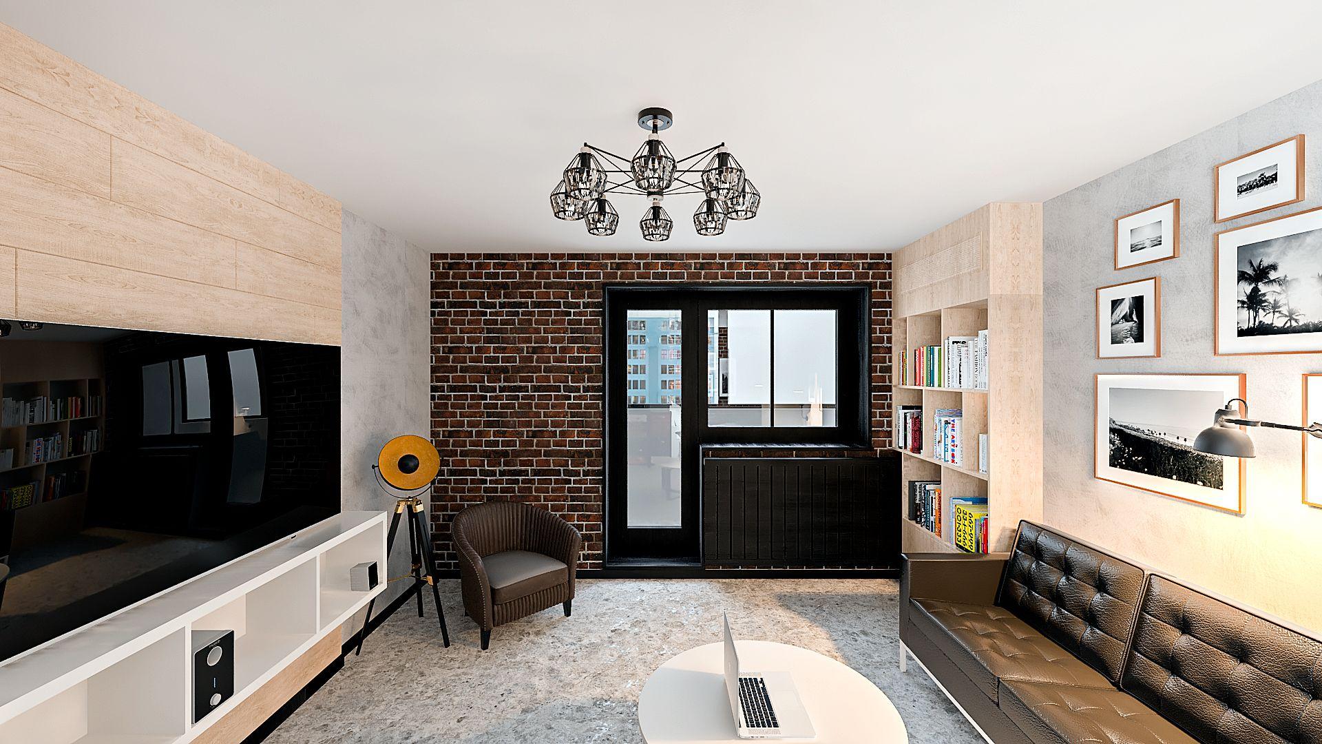 Дизайн однокомнатной квартиры в Гомеле, Гостиная - спальня в стиле лофт в квартире изображение 1