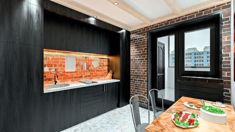 Дизайн однокомнатной квартиры в Гомеле, Гостиная - спальня в стиле лофт в квартире изображение 9, темная кухня, кирпич фартук кухни с подсветкой теплого освещения, компактный кухонный гарнитур в стиле лофт, балки с подсветкой 2