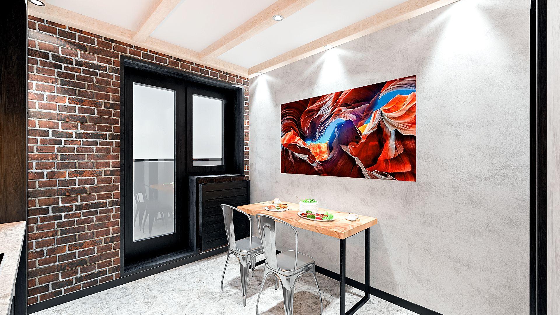 Дизайн однокомнатной квартиры в Гомеле, кухня в стиле лофт в квартире изображение 11, вид на обеденный стол, маленький телевизор над дверным проемом, картина над обеденным столом 2